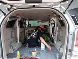 paket kebanjiran salon mobil buka jok karpet pasang kaca film audio