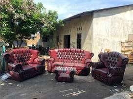 ANUGRAH-FURNITURE,Sofa 321 set JAGUAR coklat motif kancing+meja.