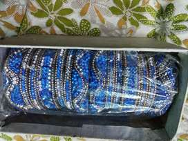 Stunning Royal Blue Rajasthani heavyly stone studded Bangles for sale
