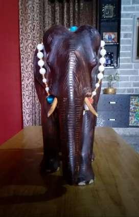 Teak wood elephant