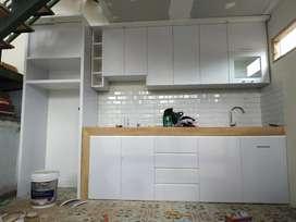 kitchenset minimalis murah putih dove hpl