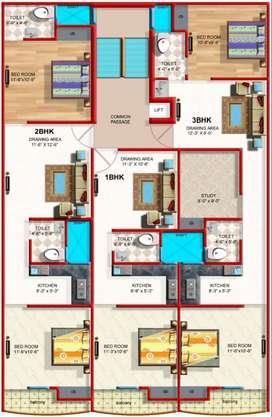 3 bhk fullyfurnished apartment bed,sofa,tv, modular kitchen etc.