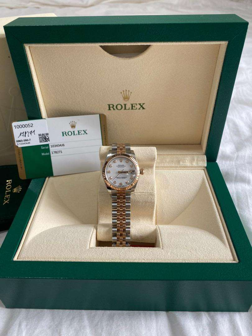 Rolex datejust 31 rolesor everose diamond, 31mm