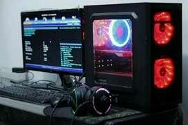 PC gaming lengkap dengan layar.