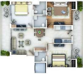 3 BHK luxurious flat in zirakpur near mohali airport road chandigarh