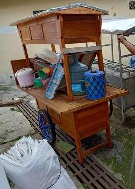 Gerobak angkringan, tenda lipat, alat masak dan makan