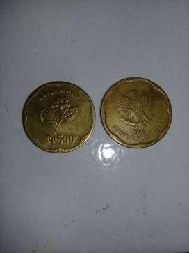 Jual uang koin: 2koin Rp.500 thn 1992, 2koin Rp.1000 thn 1995 dan 2000