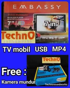Tv MP4 YouTube Embbasy + Kamera mundur doubledin tape for paket sound