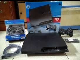 PS3 model Slim 500gb Mulpiis + Stik 2 wirless + 100 game OK