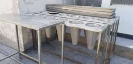 Stainless steel tables and funeral cone