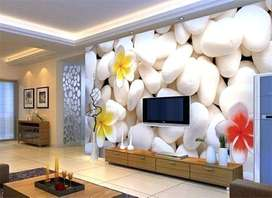 HD Customized 3D Wallpapers at best rate - Rs. 70 per sqft