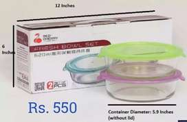 Glass Bowl set available Rs. 550