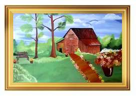 Beautiful Green Park Hut, Landscape Painting, Canvas Painting Handmade
