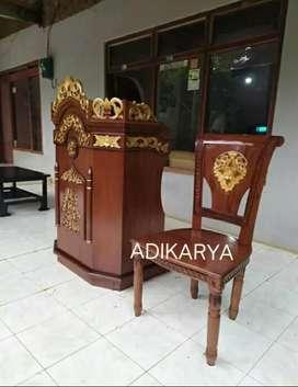 Mimbar podium ukir kayu jati + kursi.