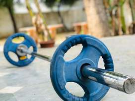 Sell olympic barbell and 100 kg weight plate