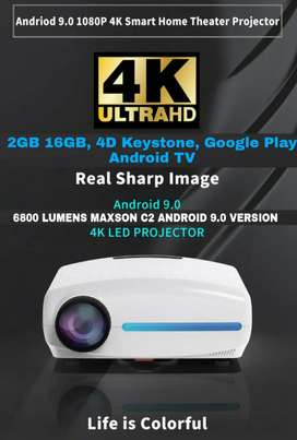 4K 3D C-2 UPGRADED ANDROID WIFI BT 6800 LM 4D CORRECTION Google TV app