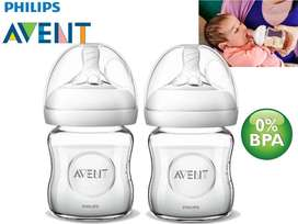 Philips Avent Natural Glass Baby Bottle 4 Ounce Pack of 2