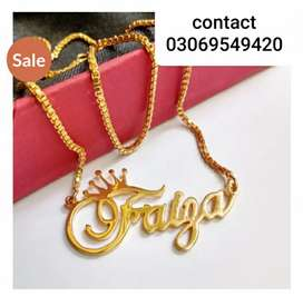 Name plated neckless in one karat gold