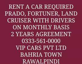Prado Fortuner Land Cruiser Civic Corolla BRV required with drivers