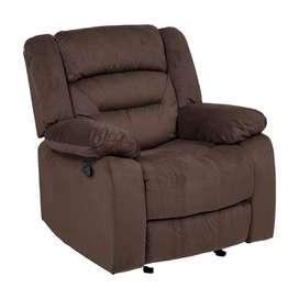Clinton Fabric Recliner Sofa 1 Seater-Dark Brown