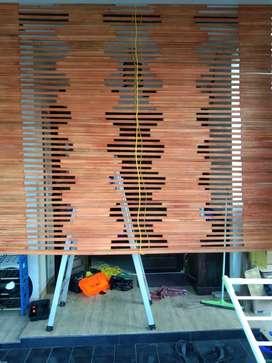 Jual tirai bambu dan kayu motif