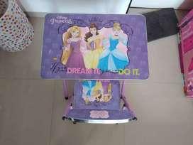 Princess kids foldable study table with chair