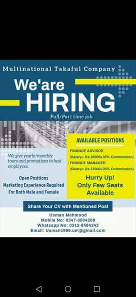 Marketing experienced person required for my team Male/Female