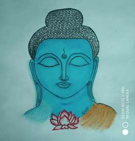 Tranquil Buddha- An Oil Pastel for Recreation