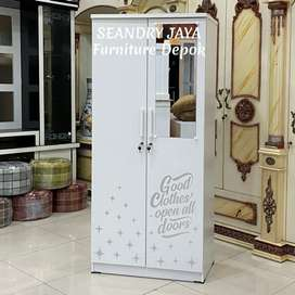 SEANDRY JAYA Furniture Depok/lemari pakaian minimalis putih 2 Pi murah