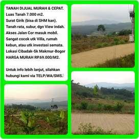 Tanah murah dgn View indah 7.032 m2, 40 menit dr Tol Cibinong-BOGOR.