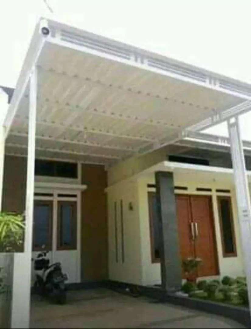 @91 canopy minimalis rangka tunggal atapnya alderon pvc bikin nyaman