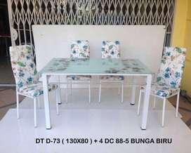 Mjb mebel - HOT PROMO meja makan import 4kursi bunga biru