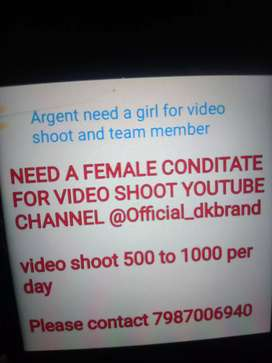 Need a female candidate for my video shoot