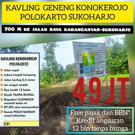 Siasa 4 unit ,Tanah Kapling Murah Polokarto 2 Pasar Godog