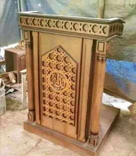 mimbar masjid kayu jati podium