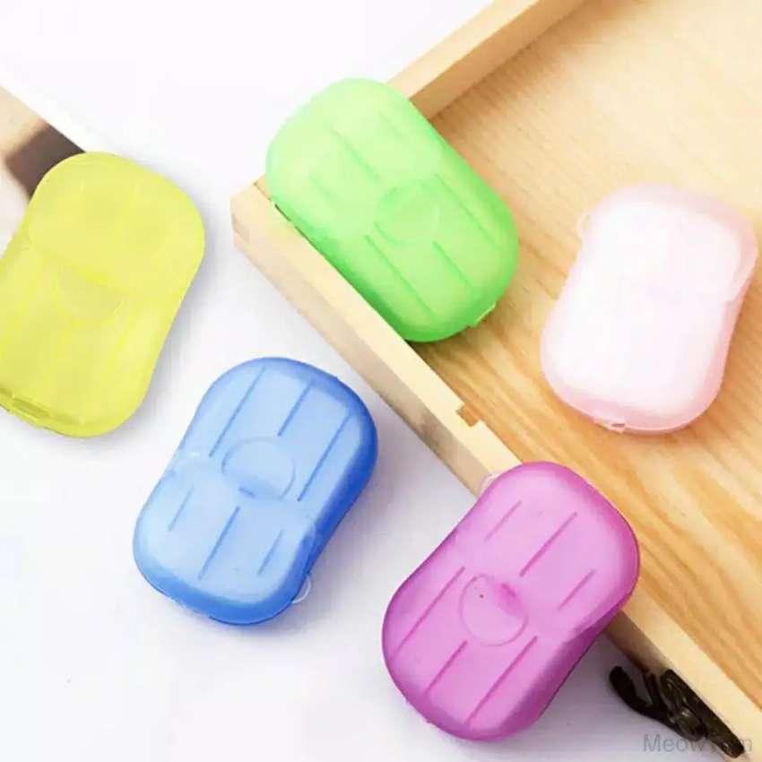 20pcs/kotak Sabun Kertas Mini Portable Sekali Pakai Untuk Cuci 0