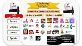 Airtel New DTH OFFER 1 Year HD PACK HD BOX DISH D2H IPL SALE Tata sky