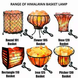 Salt lamps iron basket with chunks and dimmer cord for home office