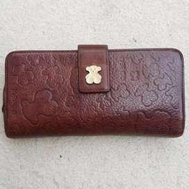 Dompet Qq Bear coklat kulit asli tebal