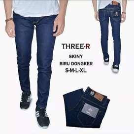 Celana jeans three-r biru Dongker