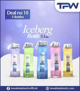 Pack of 5 bottles Leak proof to store water & juices & freezer safe