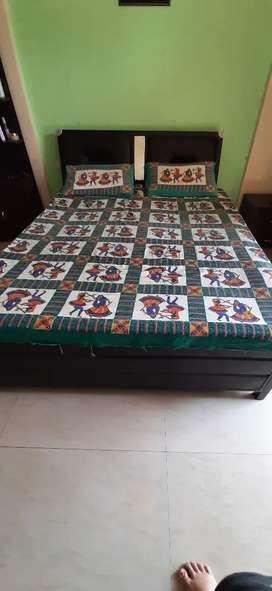 Queen size iron bed with mattress ( storage)