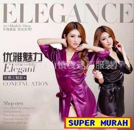 Baju Tidur Lingerie Dress Bahan Lace Lengan Panjang Lembut Halus HITAM