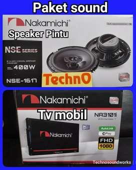 Paket sound + Tv mobil Full Nakamichi doubledin USB Bluetooth MP4 tape