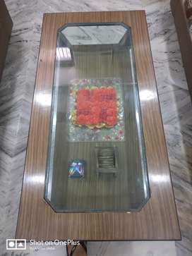 Center table with Glass top and two drawers