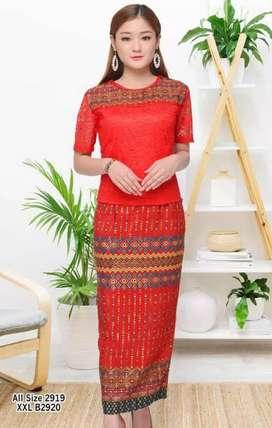 Dress Bahan scuba mix brokat