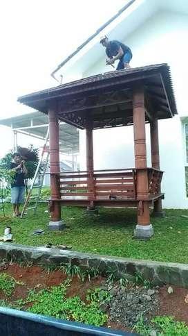 Gazebo kayu kelapa ukuran 2x2m