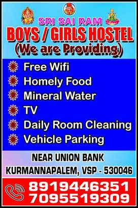 Ladging at kurmanipalem per day 300/- with food monthly 4500/-