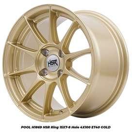 Velg Racing POOL 1869 HSR R15X7-8 H4x100 ET40 GOLD