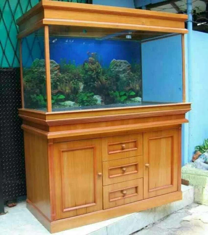 Meja aquarium bufet hias siap kirim